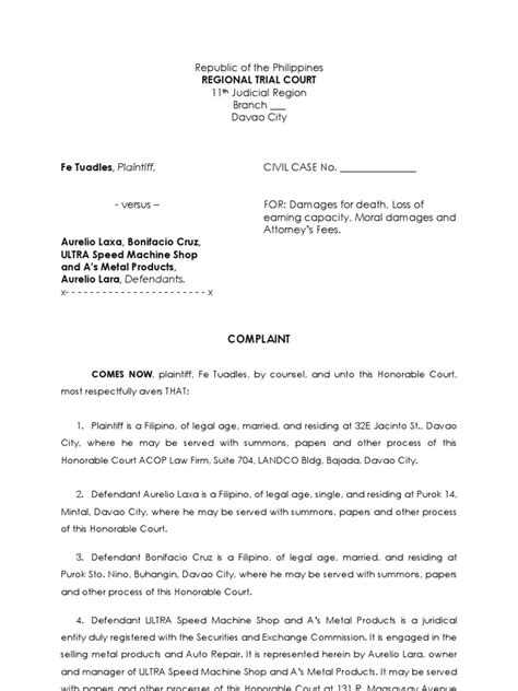 Complaint Letter Sle In The Philippines Sle Complaint Summons Damages