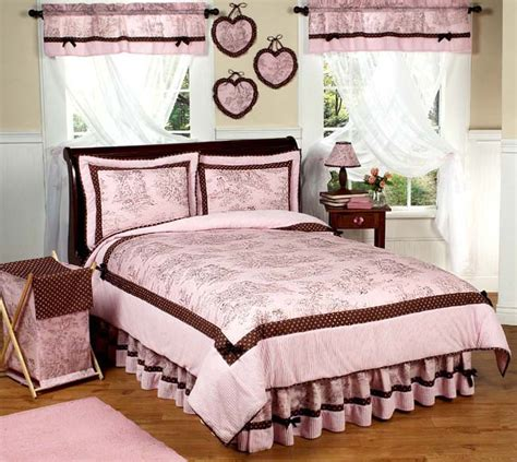 Jojo Pink Brown French Toile Girl Kid Teen Full Queen Size Pink And Brown Bedding