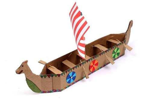 how to make a paper viking boat simple viking longboat papercraft for kids free template