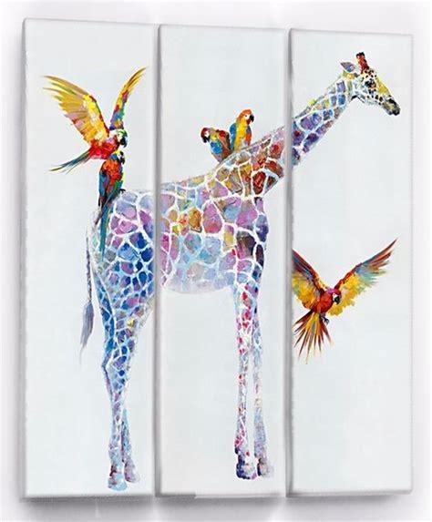 imagenes de jirafas al oleo cuadro al oleo triptico jirafas guacamayas pintado a mano