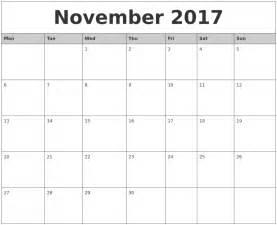 november 2017 calendar usa printable template with