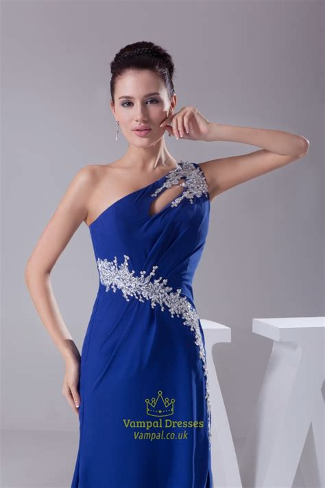 beaded one shoulder gown beaded one shoulder chiffon prom dress royal blue