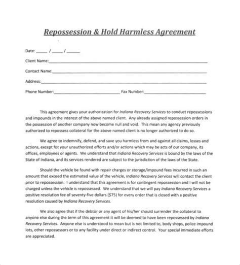 30 Sle Hold Harmless Agreement Templates To Download Sle Templates Repossession Order Form Template
