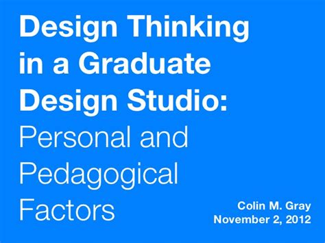 design thinking graduate programs design thinking in a graduate design studio personal and
