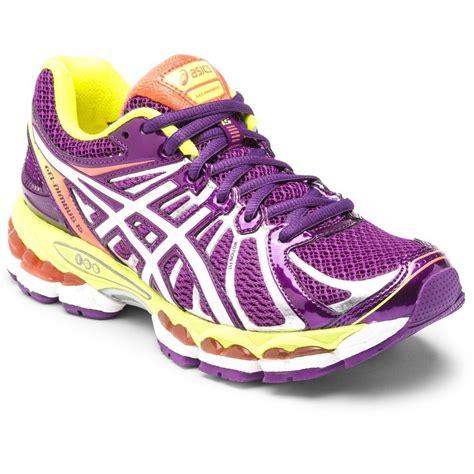 asics gel nimbus 15 womens running shoes purple yellow
