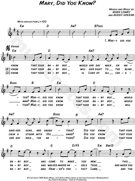 printable lyrics mary did you know mark lowry quot mary did you know quot sheet music leadsheet