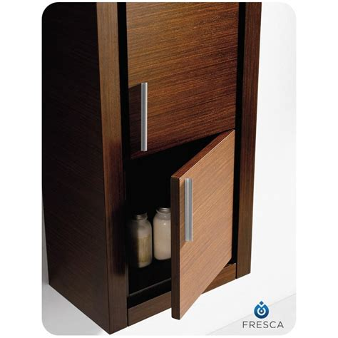 fresca wenge brown bathroom linen side cabinet w 2 doors