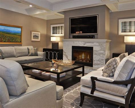 living room with fireplace and tv decorating ideas symmetry of layout 2 windows built in tv with surround