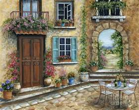 Italian Villa Style Homes romantic tuscan courtyard painting by marilyn dunlap