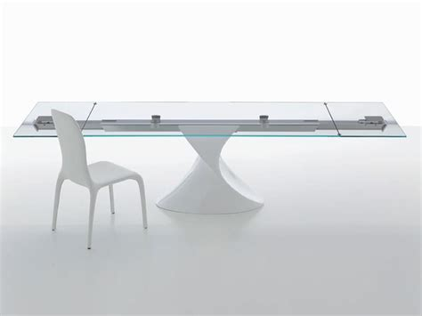 Kitchen Virtual Design table with glass top sculptural base extendable idfdesign