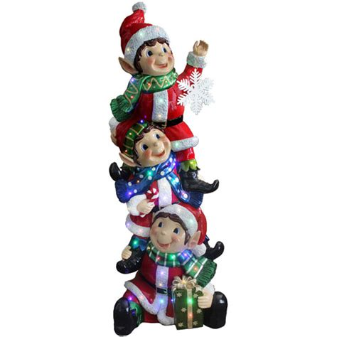 elves lightingand decorating charlotte national tree 59 quot stacking elves holding snowflake with glossy and metallic finish multi color