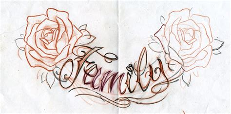 family rose tattoo family lettering sketches pictures to pin on