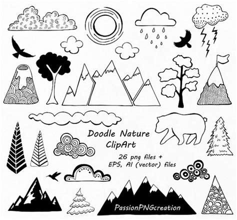 doodle nature doodle nature clipart mountain by