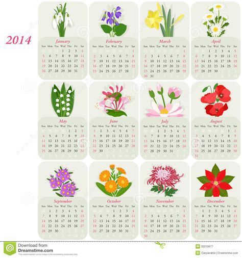calendario semina fiori 2014 floral calendar royalty free stock photography