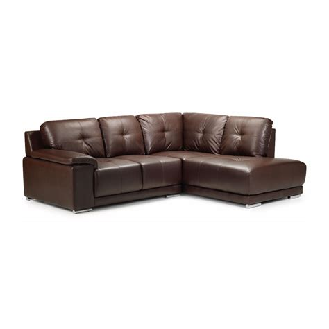 Leather Chaise Sofa Furniture Classic Brown Leather Sectional Tufted With Chaise And Ottoman Table Excellent