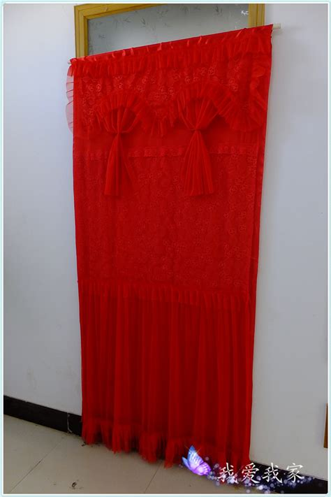 long red curtains festive married red curtain fabric decoration lace curtain