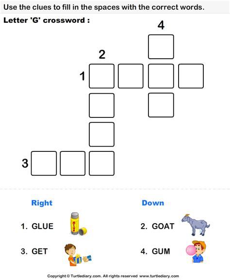 Letter Xword letter g crossword worksheet turtle diary