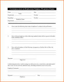 verbal warning template doc 580600 verbal warning template sle verbal