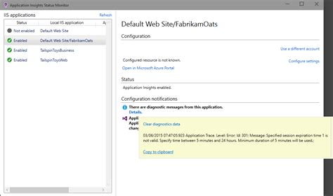 jp application status azure application insights を使用してライブ asp net web アプリを監視する