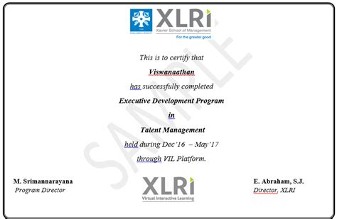 Executive Mba Eligibility Criteria In Xlri by Certified Talent Management Courses From Xlri