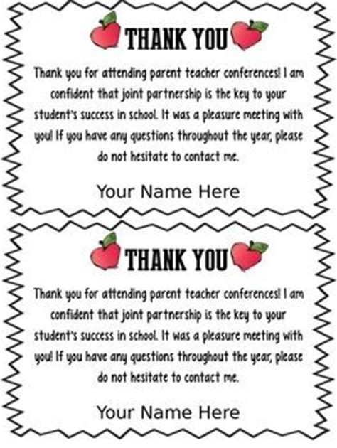 Thank You Note After Kindergarten Freebie Editable Parent Conference Forms Thank You Teacherspayteachers Parent