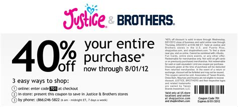 Justice Coupons 40 Off Printable 2012 | justice 40 off printable coupon see all justice coupons