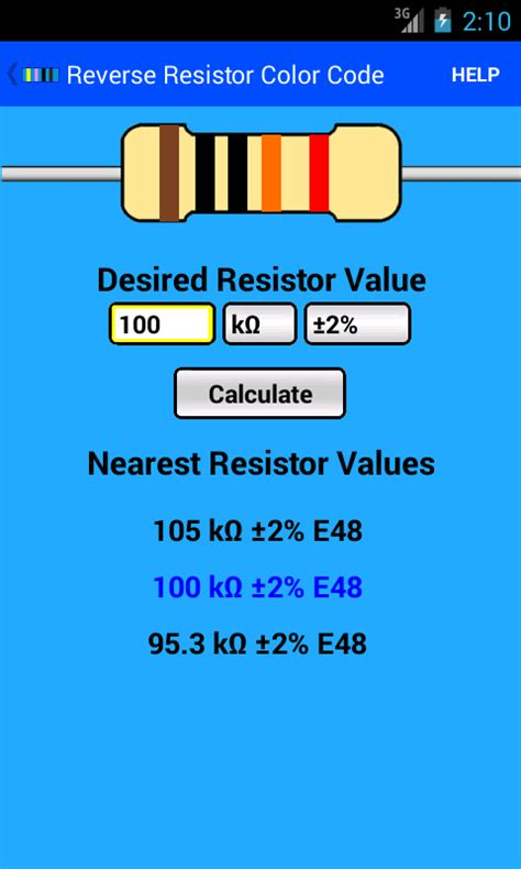 resistor calculator e48 resistor color code android apps on play