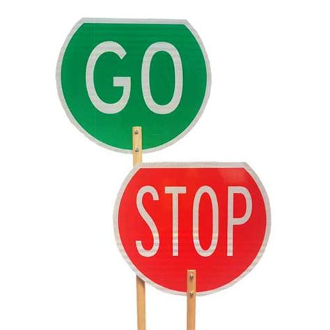 Go Go Go Stop stop go paddles signs highway 1
