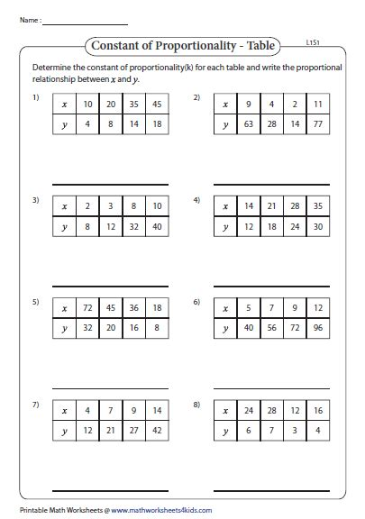 determining proportionality with tables constant of proportionality worksheets
