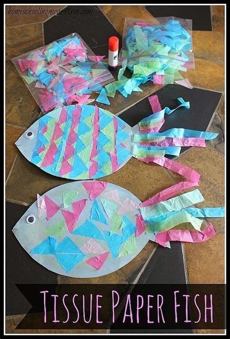 toddler crafts with construction paper craft construction paper fish with tissue paper