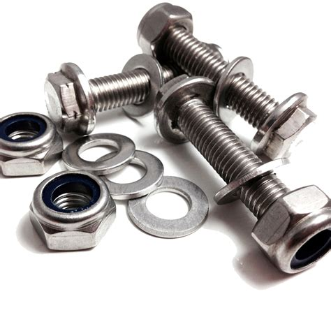 The Nuts Bolts Of Search M10 A2 Stainless Hexagonal Flange Bolts With Free A2 Nyloc Nut A2 Washers Ebay