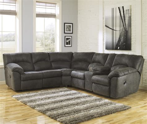 Corner Sectional Sofas by Tambo Pewter 2 Reclining Corner Sectional With