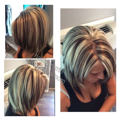 are chunky or thin highlights popular for 2015 chunky highlights and lowlights platinum hair dark brown