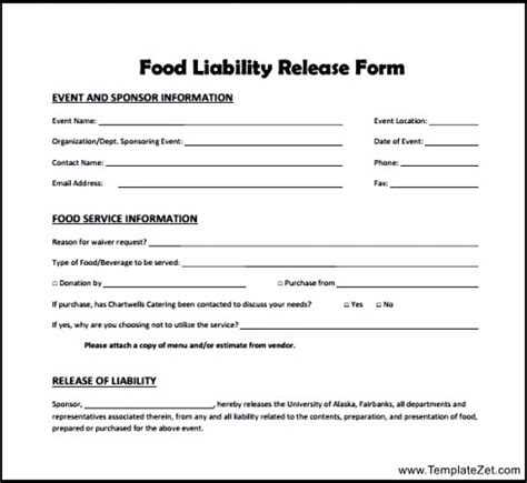 disclaimer forms template food liability release form templatezet