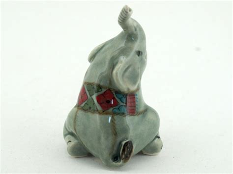 elephant figurines handicraft miniature collectible porcelain ceramic cartoon