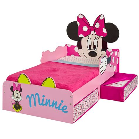 minnie mouse toddler bed minnie mouse mdf toddler bed with storage deluxe mattress ebay