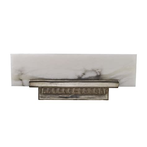 Angled Wall Shelf by Ruhlmann Deco Antique Silver Bronze Alabaster Angled Shelf Wall Sconce Deco Decor