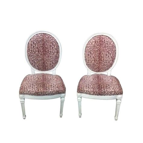 leopard print louis style dining chairs pair