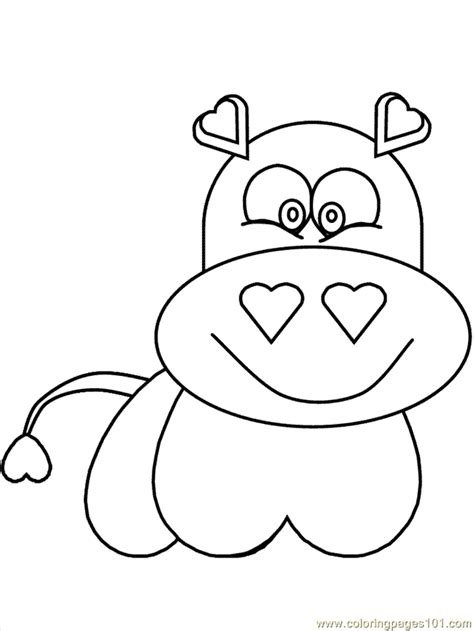 hearthippo coloring page free hippopotamus coloring