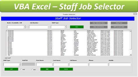 vba excel templates staff allocator database excel userform database