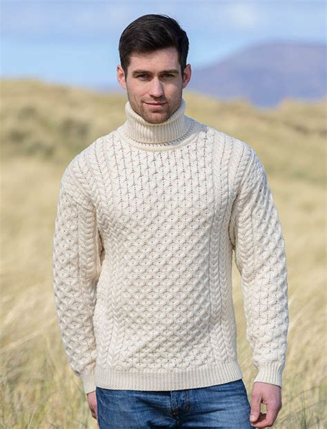 mens wool turtleneck sweater fisherman sweater cable knit