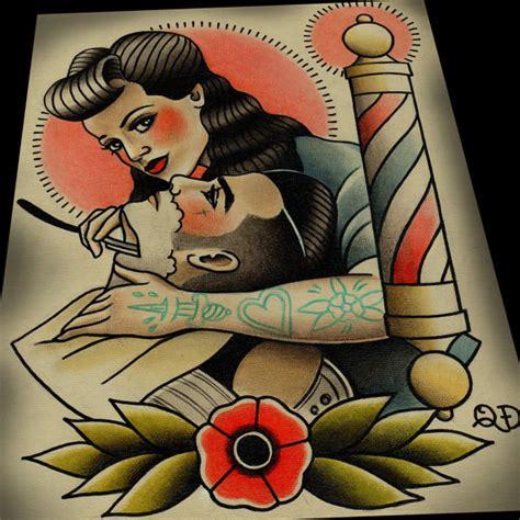 tattoo old school qd rockabilly lady barber barbier tattoo print art