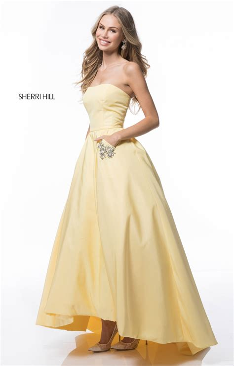 sherri hill  simple strapless ball gown