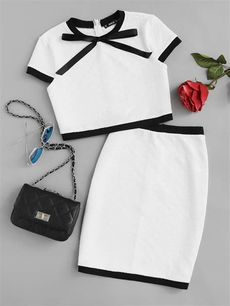 Contrast Trim Bow Shirt contrast trim bow neck textured top skirt co ord shein