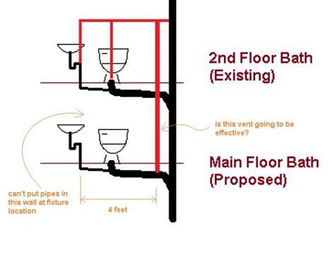 2nd floor bathroom plumbing venting new bathroom on main floor will this work