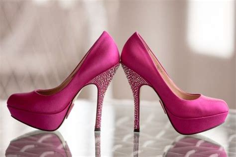 bright pink sparkly shoes a masquerade wedding at