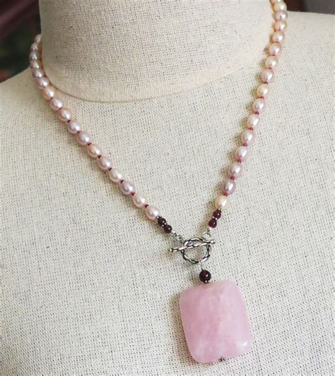 handmade pearl necklace with quartz handmade jewelry