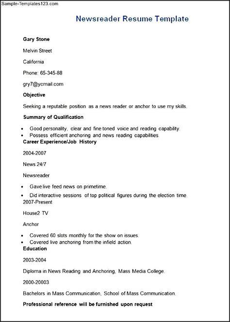 biodata format for news reader sle newsreader resume cv template sle templates