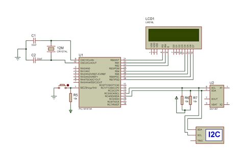 ds1307 circuit diagram interfacing ds1307 to pic microcontroller with c code and