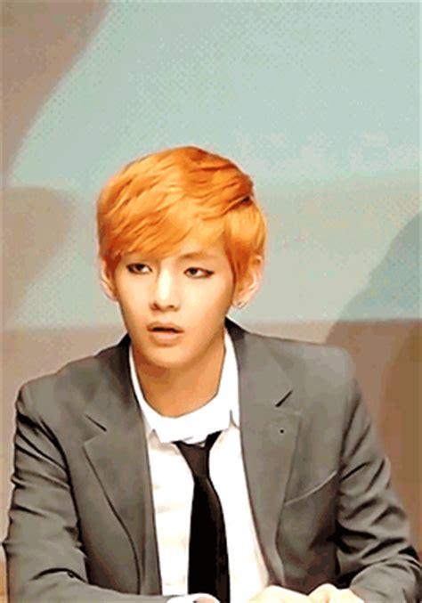 kim taehyung orange hair taehyung with orange hair tumblr
